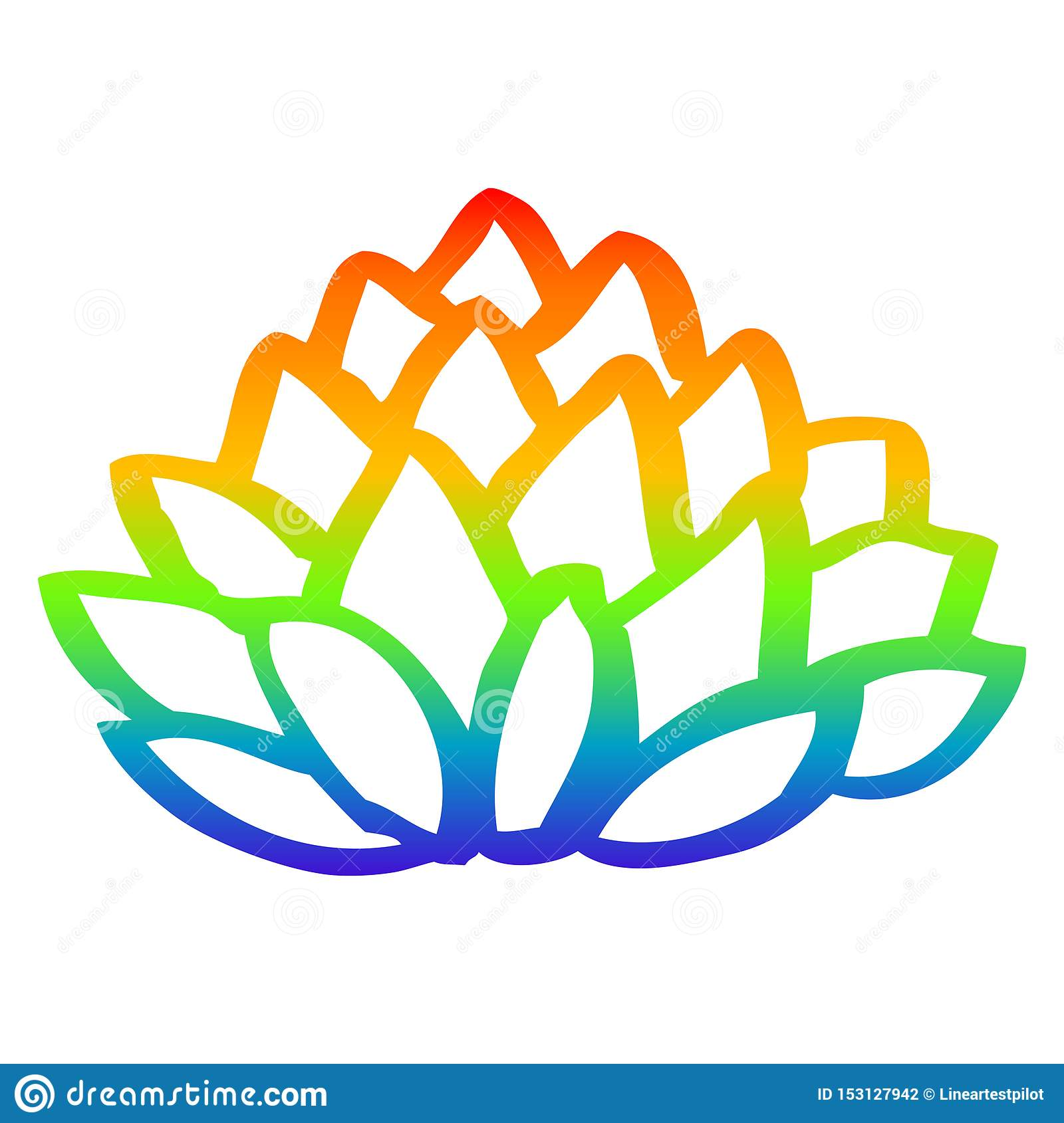 A Creative Rainbow Gradient Line Drawing Cartoon Pile Of Leaves Stock Vector Illustration Of Hand Scribble 153127942