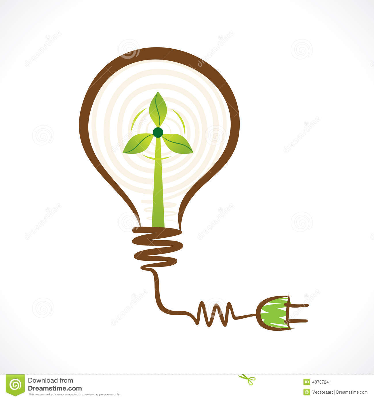 Creative Renewable Energy Concept Wind Mill In Bulb Stock Vector ...