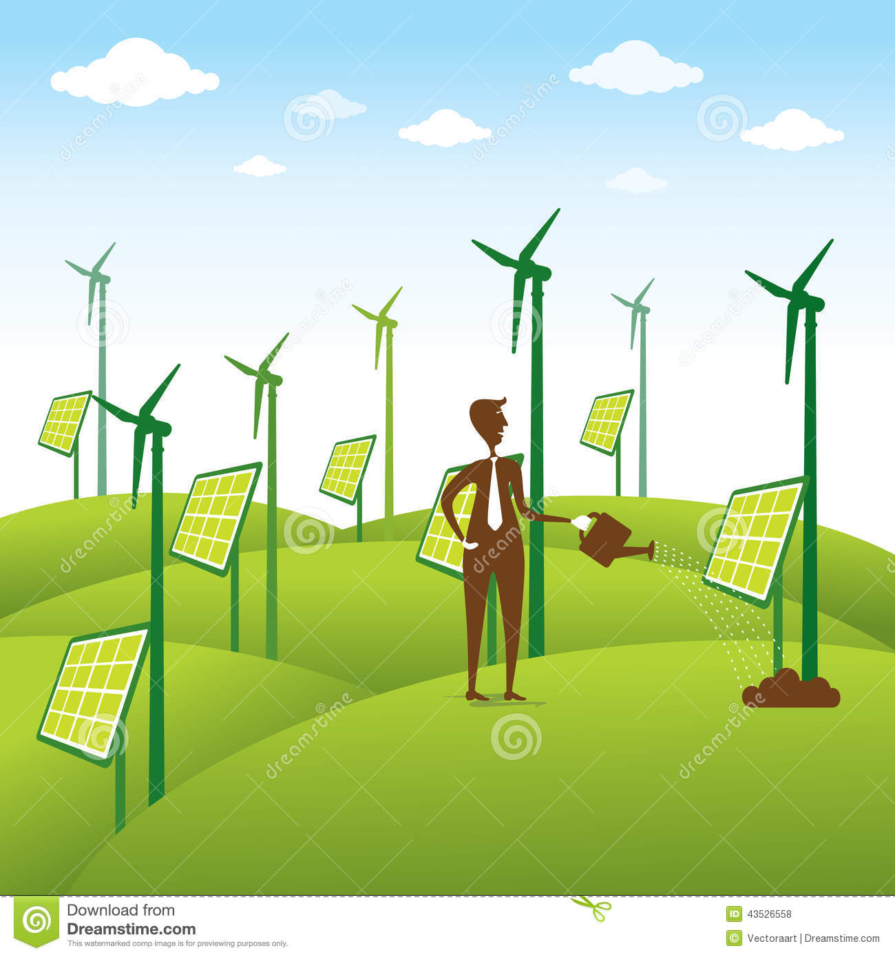 ... renewable energy source or men giving water to windmill or solar panel