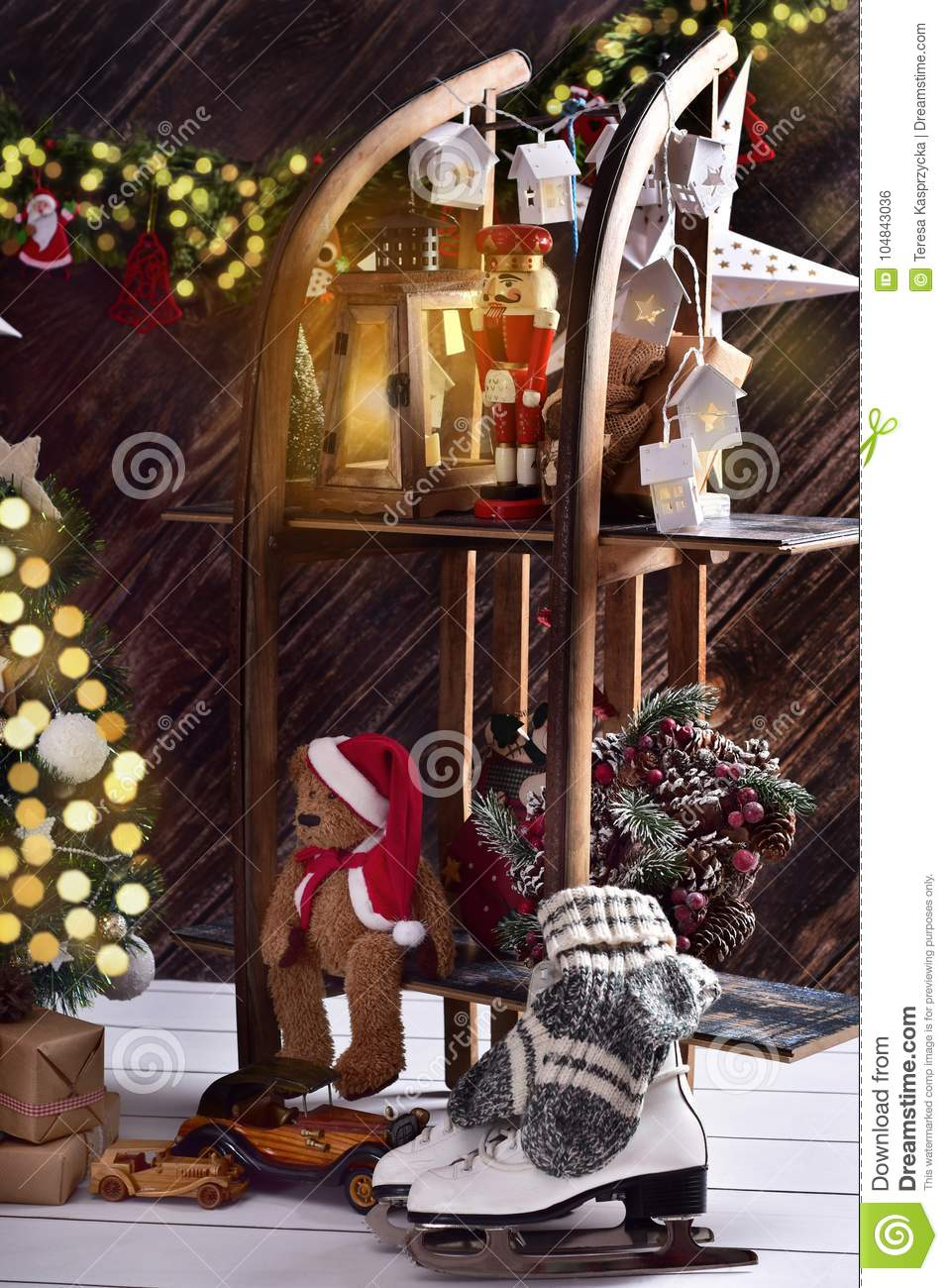creative christmas decoration on shelves made of wooden sled - Wooden Sled Decoration Christmas