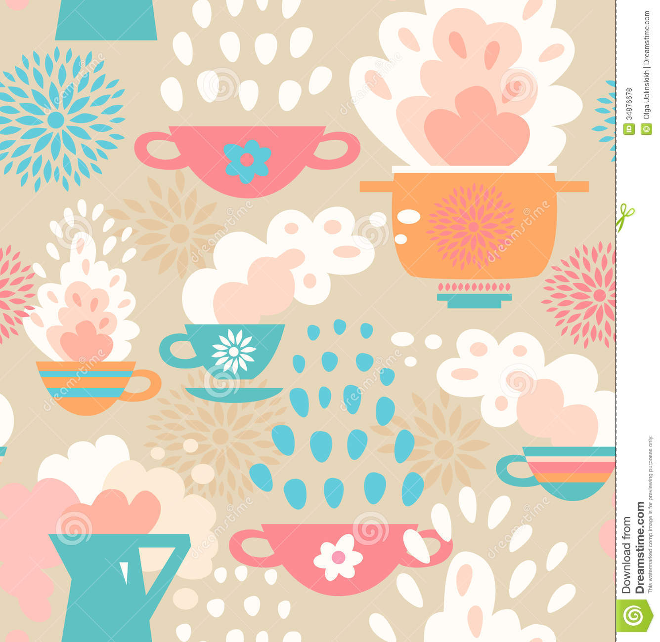 Creative Seamless Kitchen Pattern Background With Cups, Teapots, Coffee And Pan, Saucepan ...