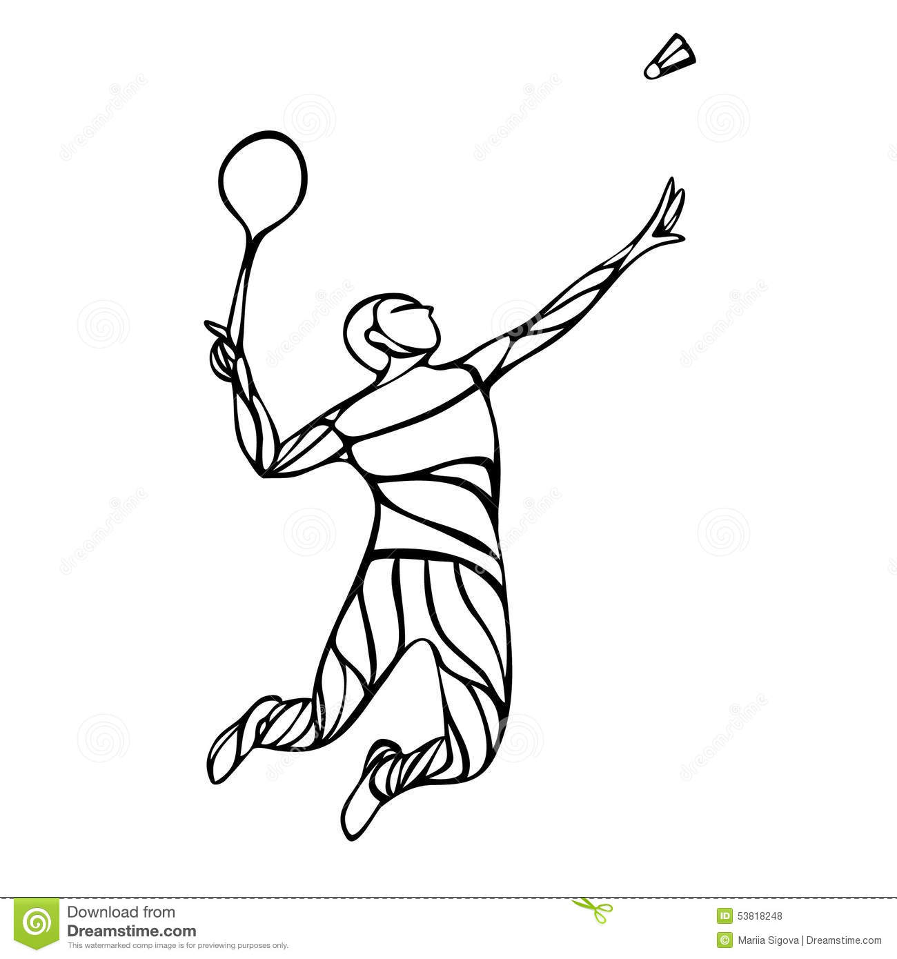 Creative Silhouette Of Abstract Badminton Player Stock ... Badminton Player Png