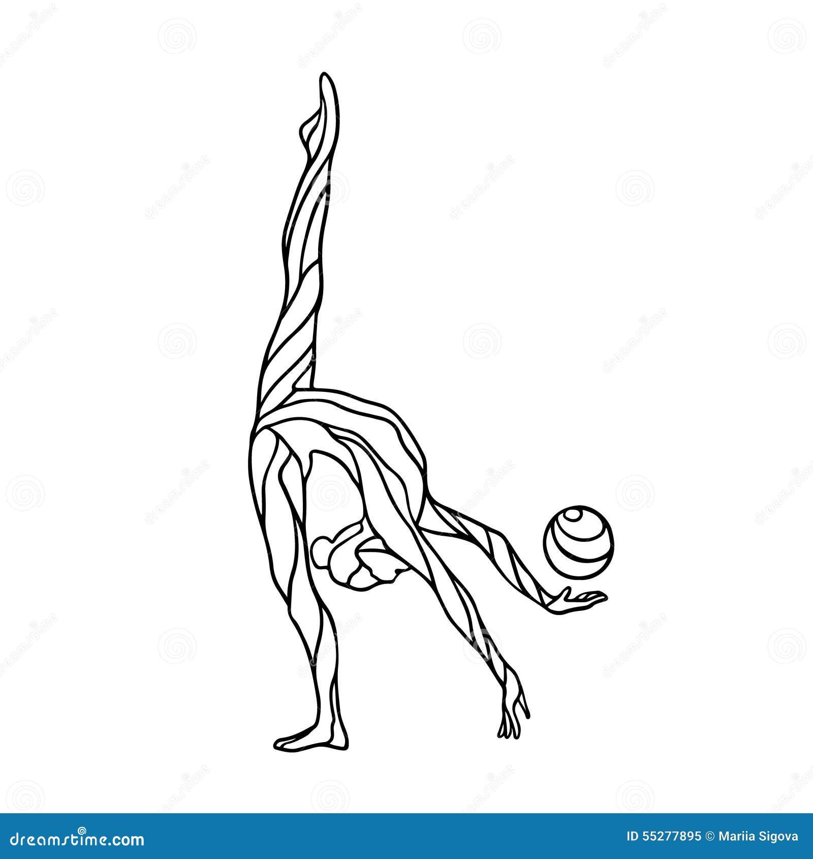 Creative Silhouette Of Gymnastic Girl Art Gymnastics With