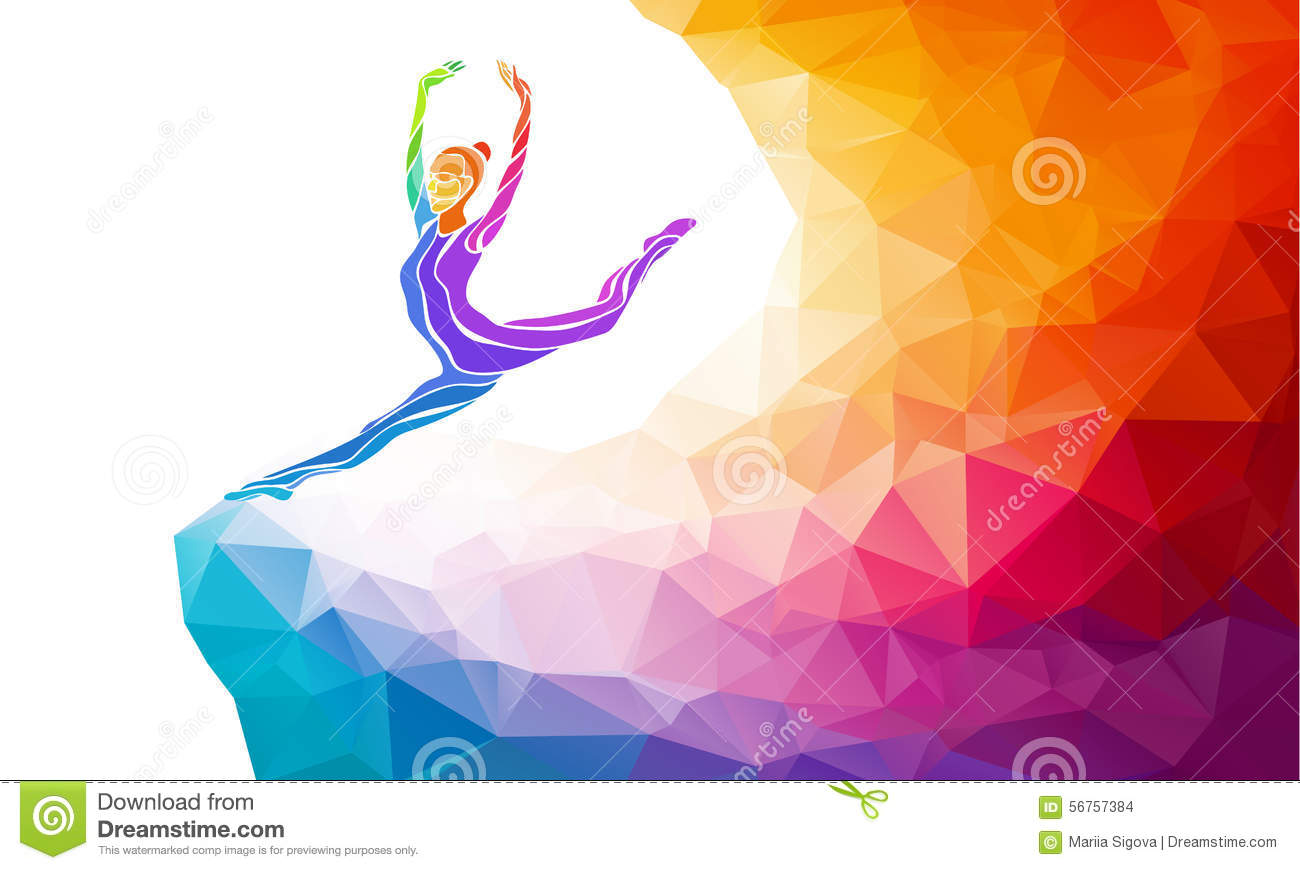 Creative Silhouette Of Gymnastic Girl. Fitness Stock