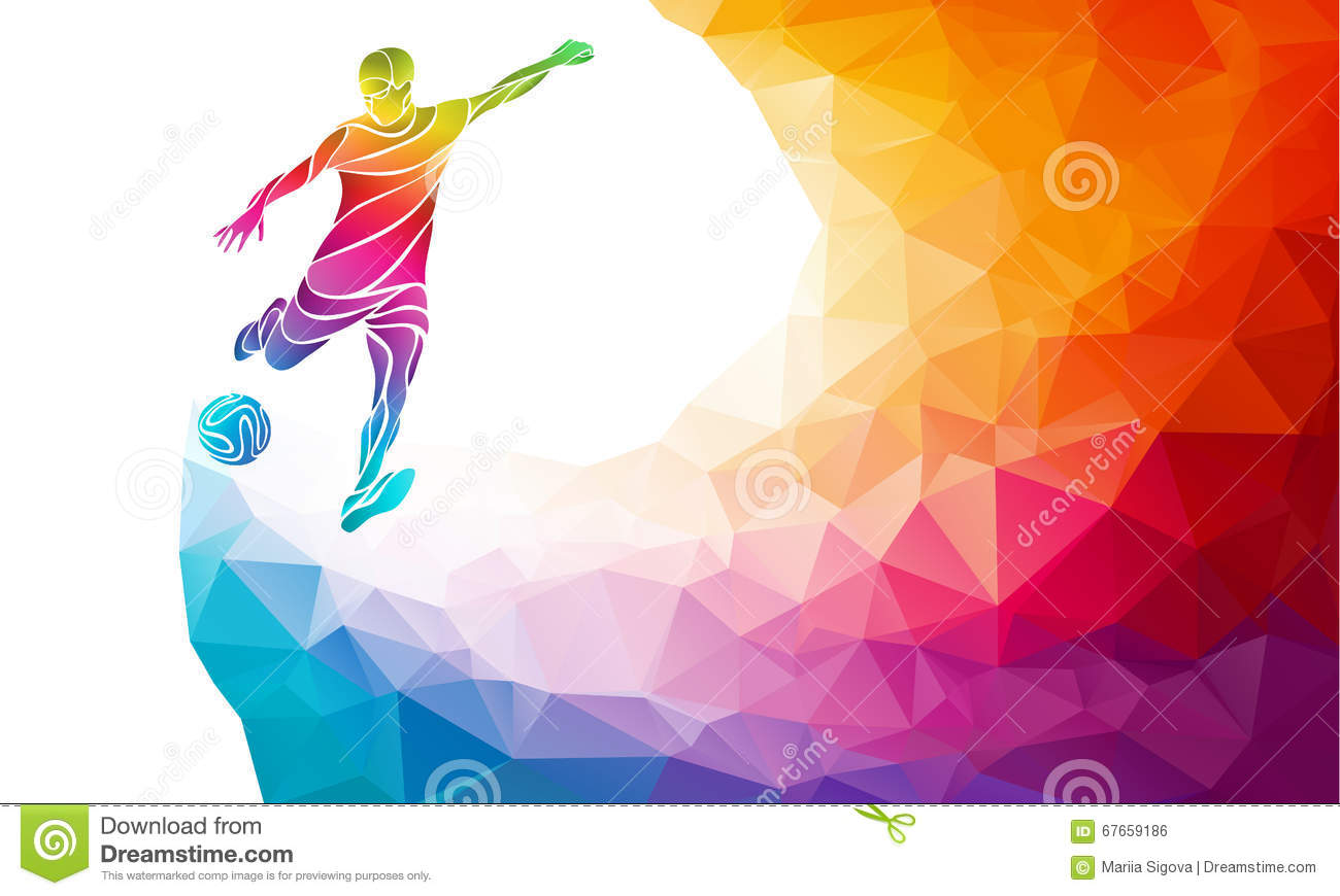 Creative Silhouette Of Soccer Player. Football Player