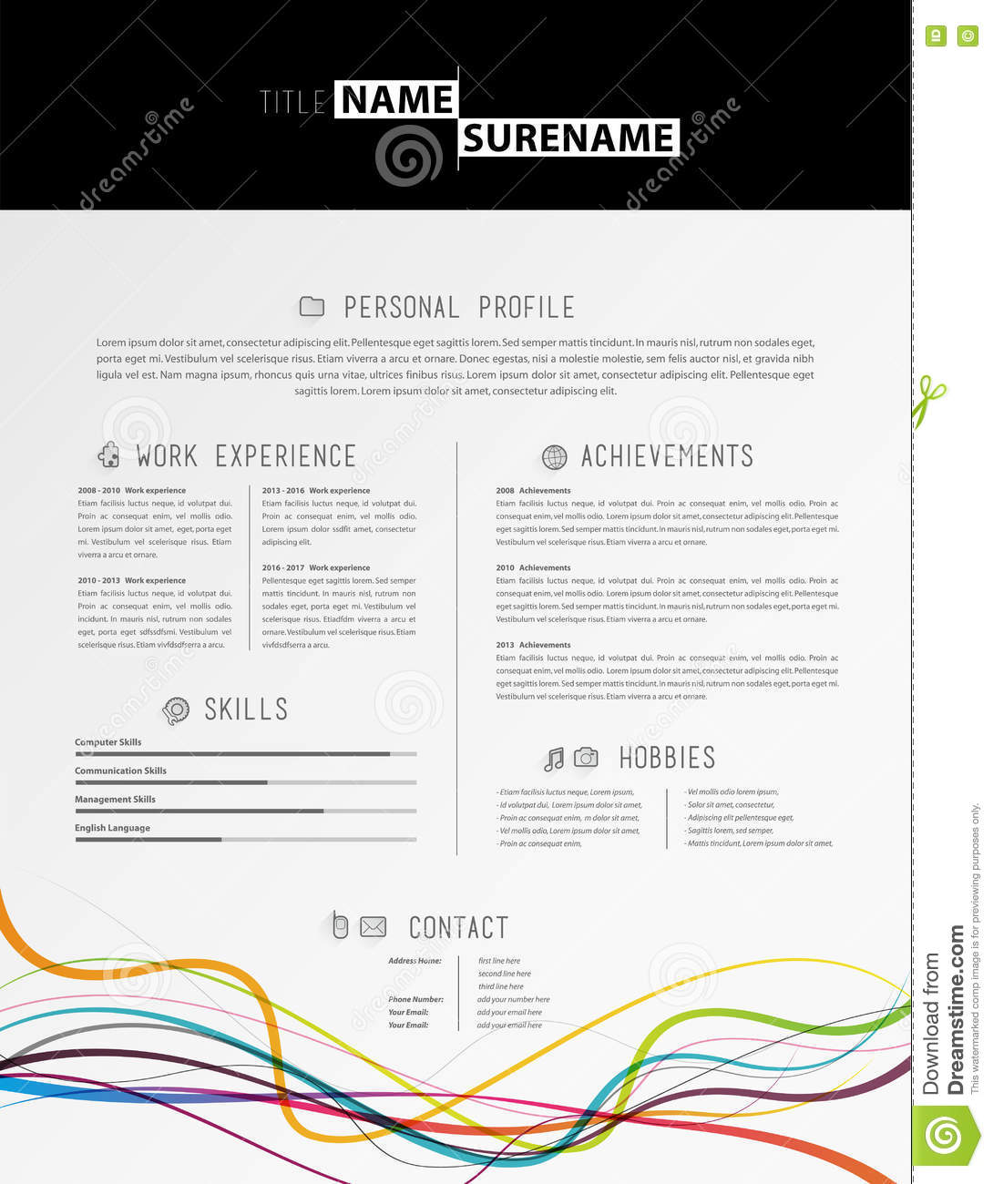 creative simple cv template with black stripe in header