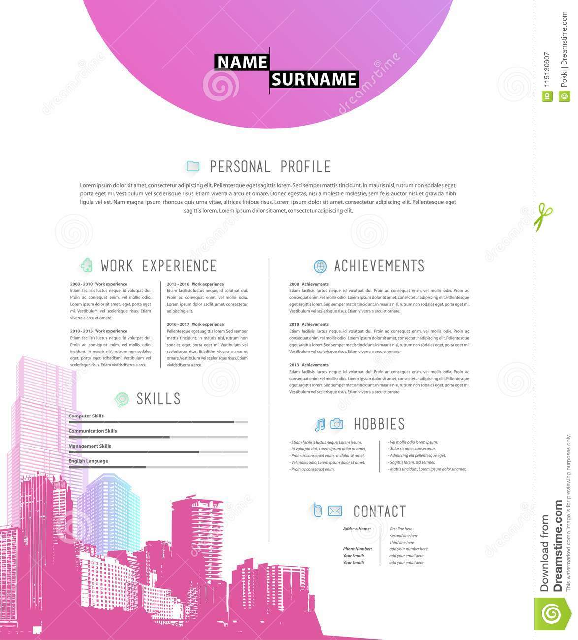 creative simple cv template with colorful skyscrapers stock vector