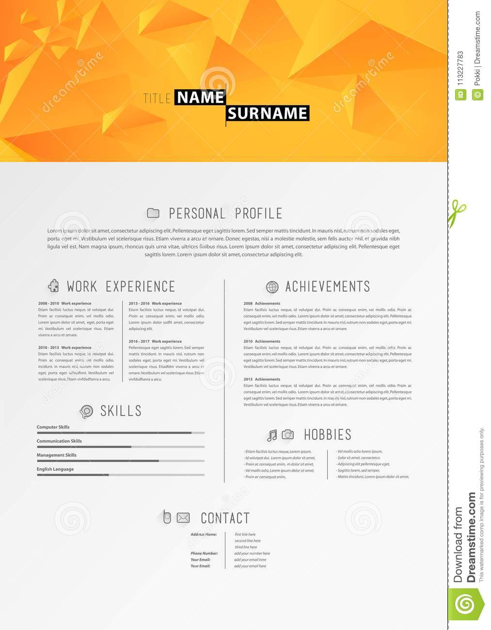 download creative simple cv template with orange triangles in header stock vector illustration of