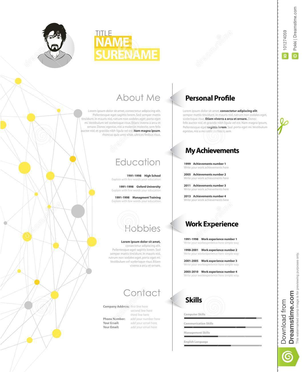Simple Cv Template | Creative Simple Cv Template With Yellow Stock Vector Illustration