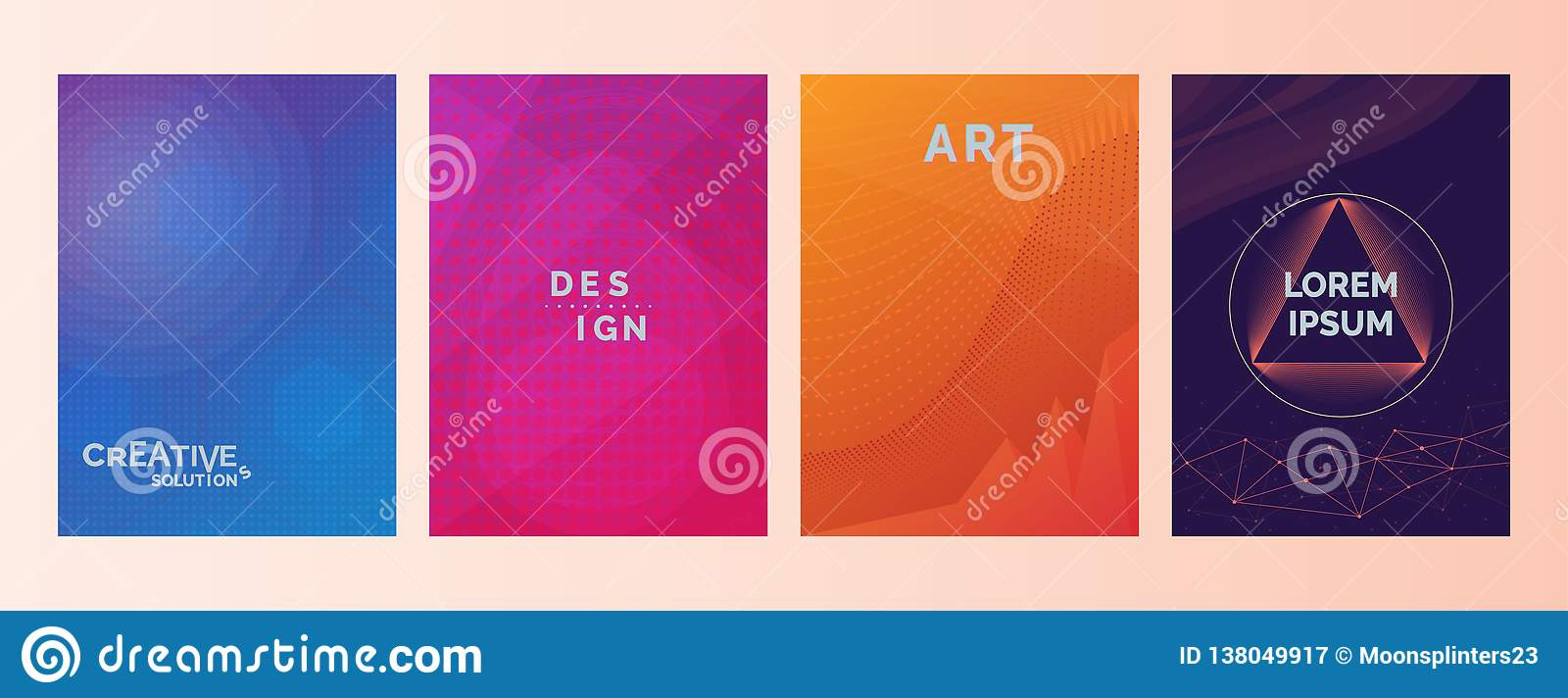 Creative solutions Design Art Lorem Ipsum text in abstract color gradient shapes background. Set of covers, brochures, flyer. Cool