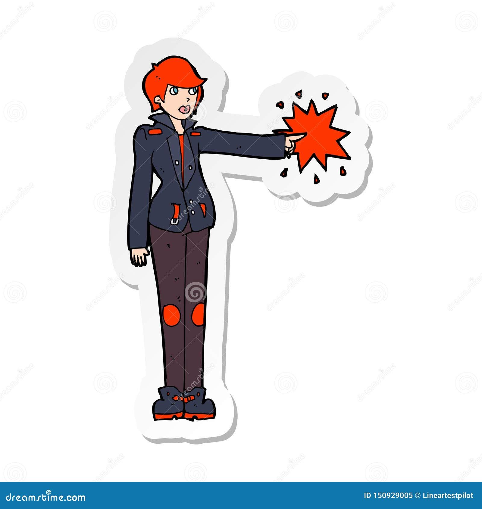 A creative sticker of a cartoon biker woman pointing