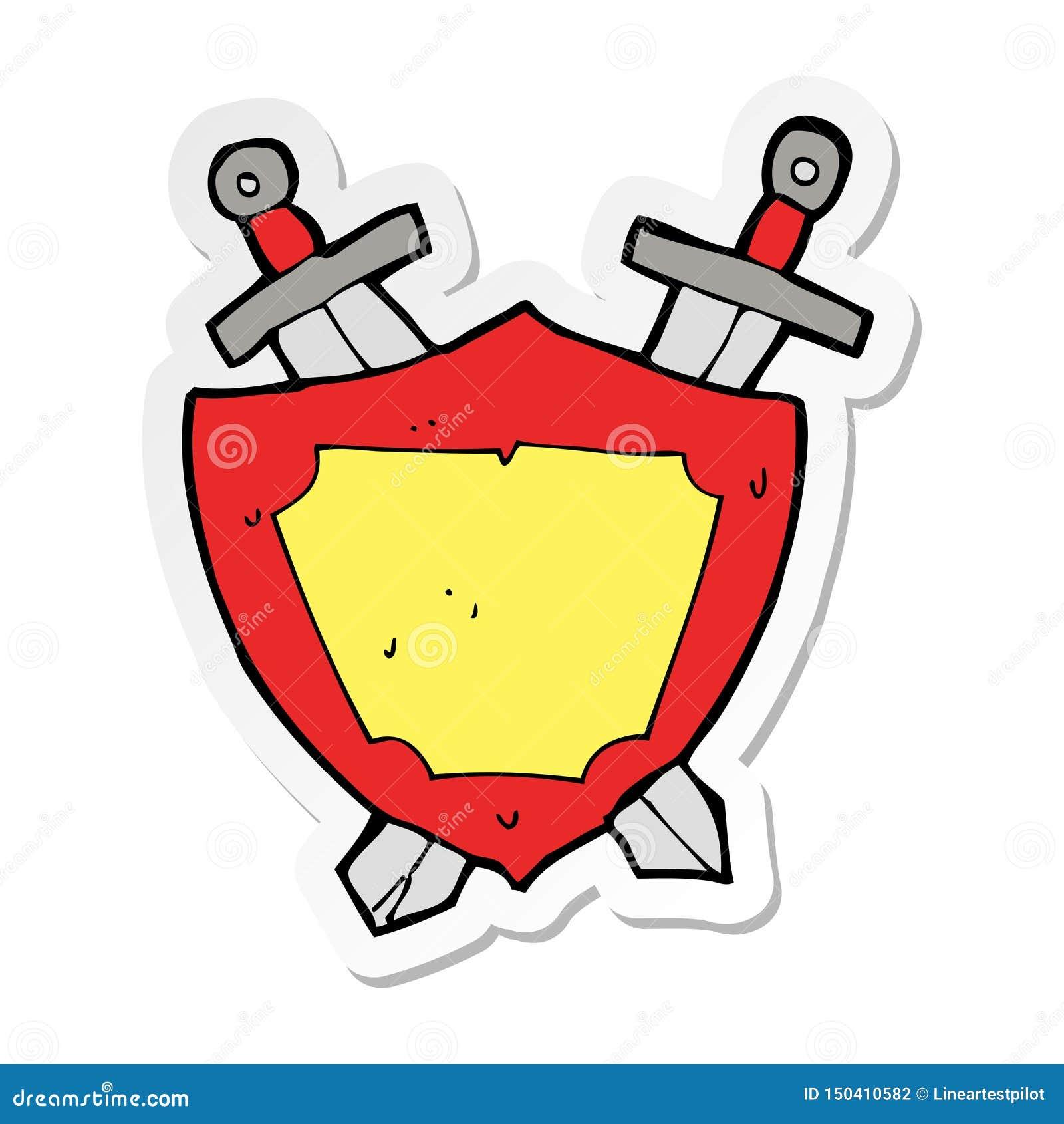 Sticker Heraldry Shield Sword Cartoon Character Cute Hand