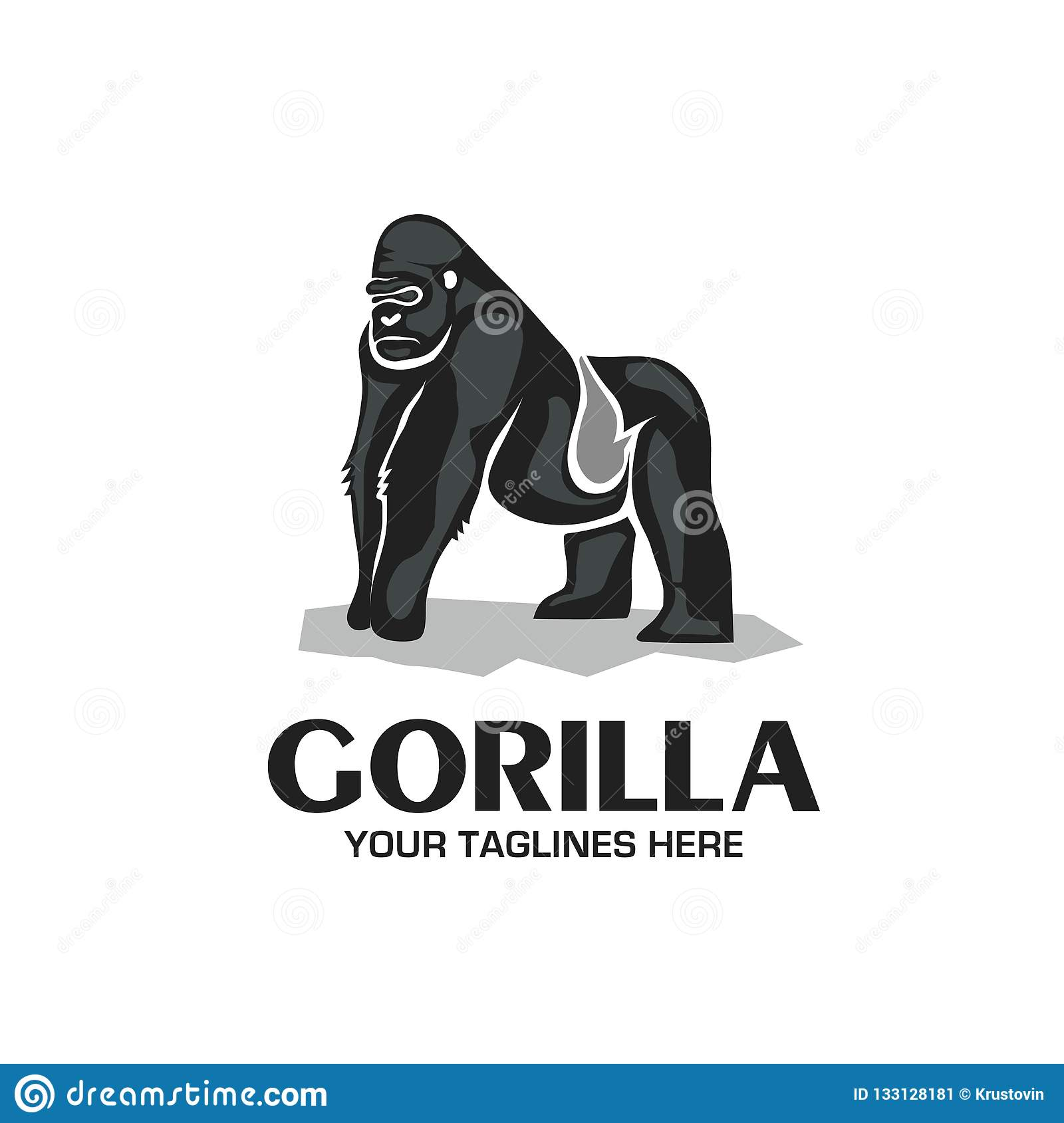 250a54bd8 Creative and strong Gorilla logo vector isolated on white background. More  similar stock illustrations