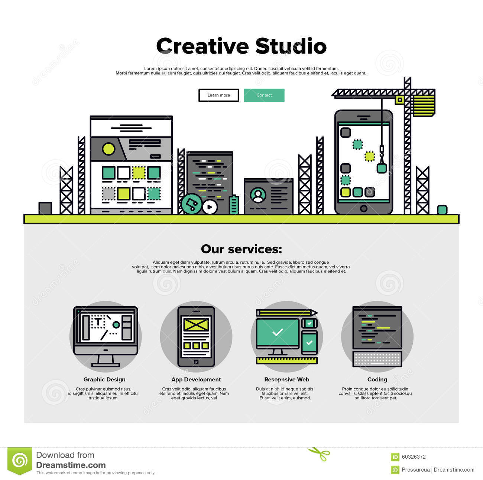 creative studio flat line web graphics stock vector image 60326372. Black Bedroom Furniture Sets. Home Design Ideas
