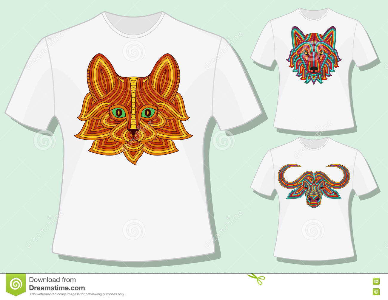 Shirt design style - Creative Stylized Animal Heads In Ethnic Linear Style T Shirt Design