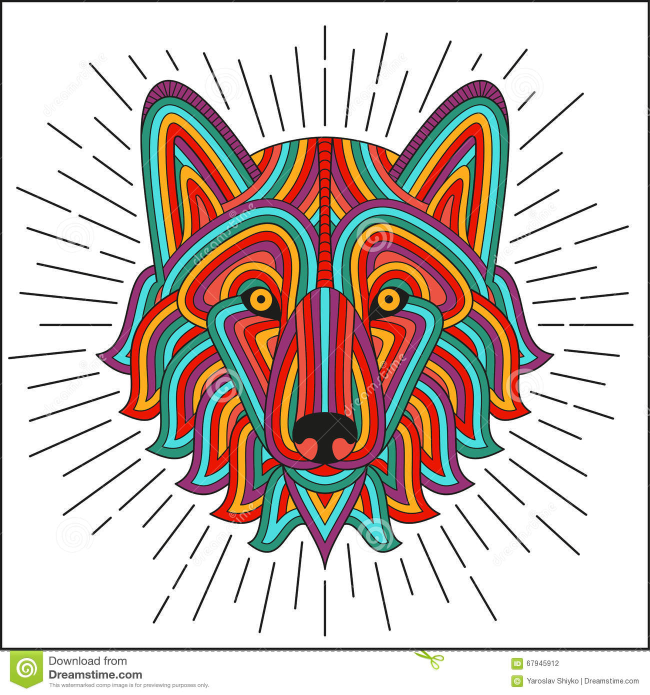 Creative stylized wolf head in ethnic linear style good for Tattoo style logo design