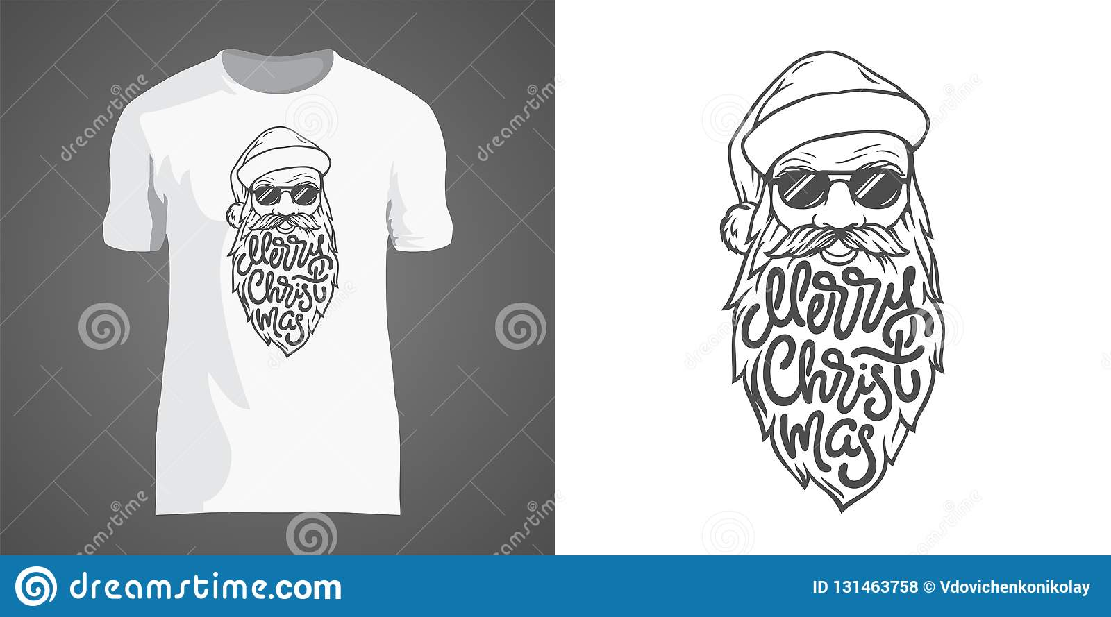 Creative t-shirt design with illustration of Santa in sunglasses with big beard. Lettering Merry Christmas in form of