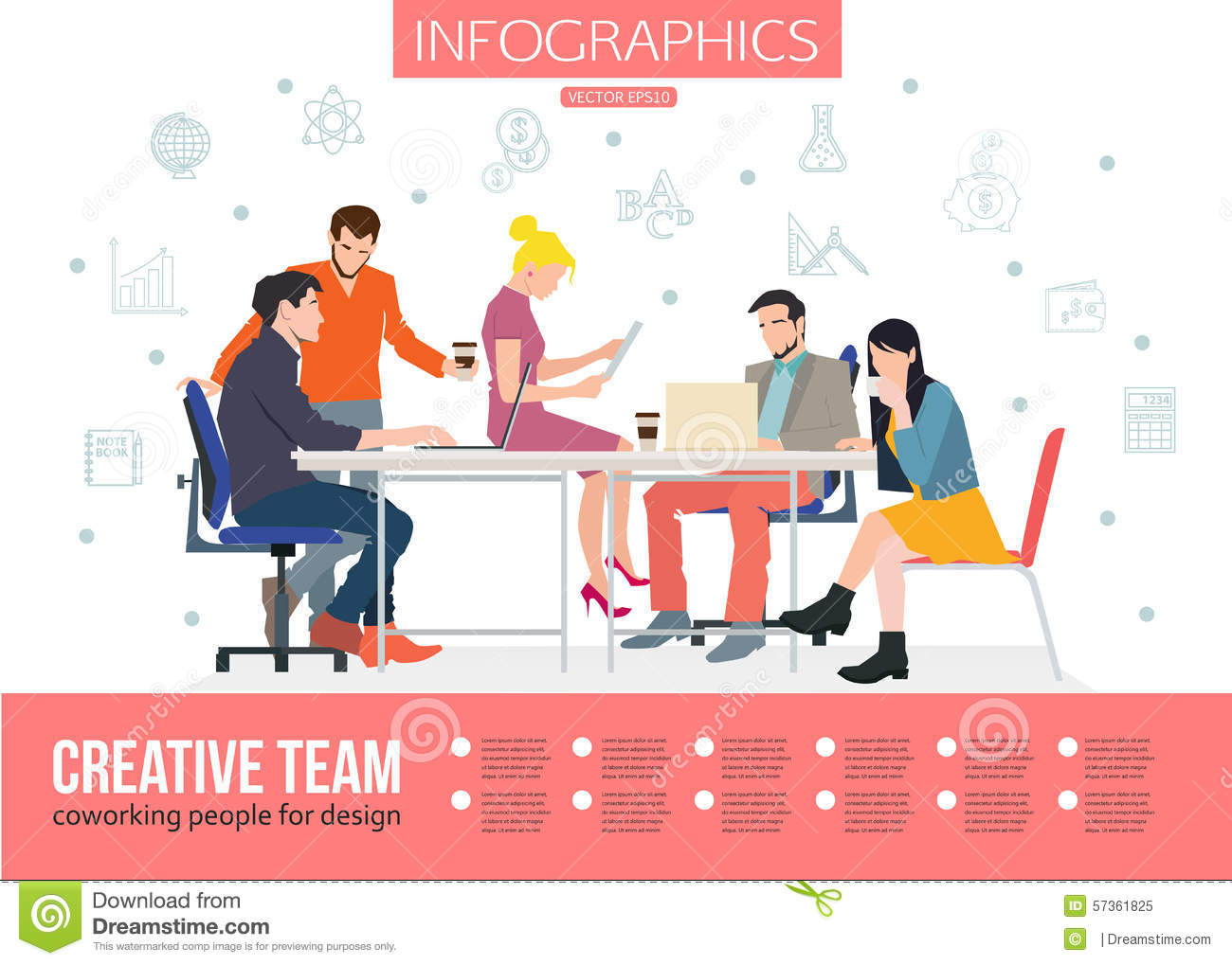 Flat modern design vector illustration concept of creative office room - Creative Team Infographics Business Meeting And Stock