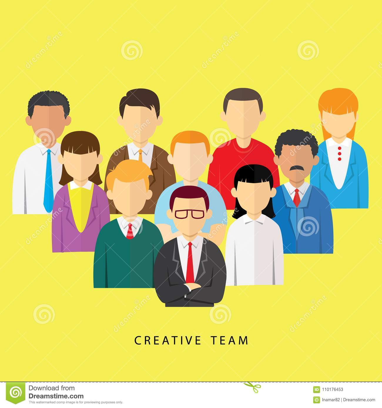 creative team leader and staff avatar stock vector illustration of