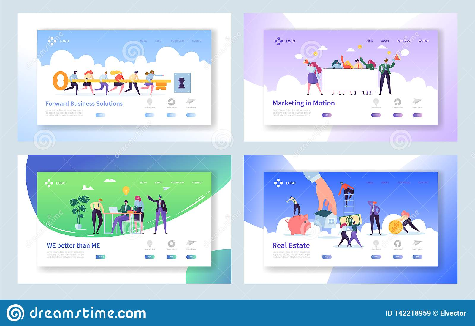 Creative Teamwork Idea Concept Landing Page. Business People Character Making Solution Set. Male and Female with Key Website