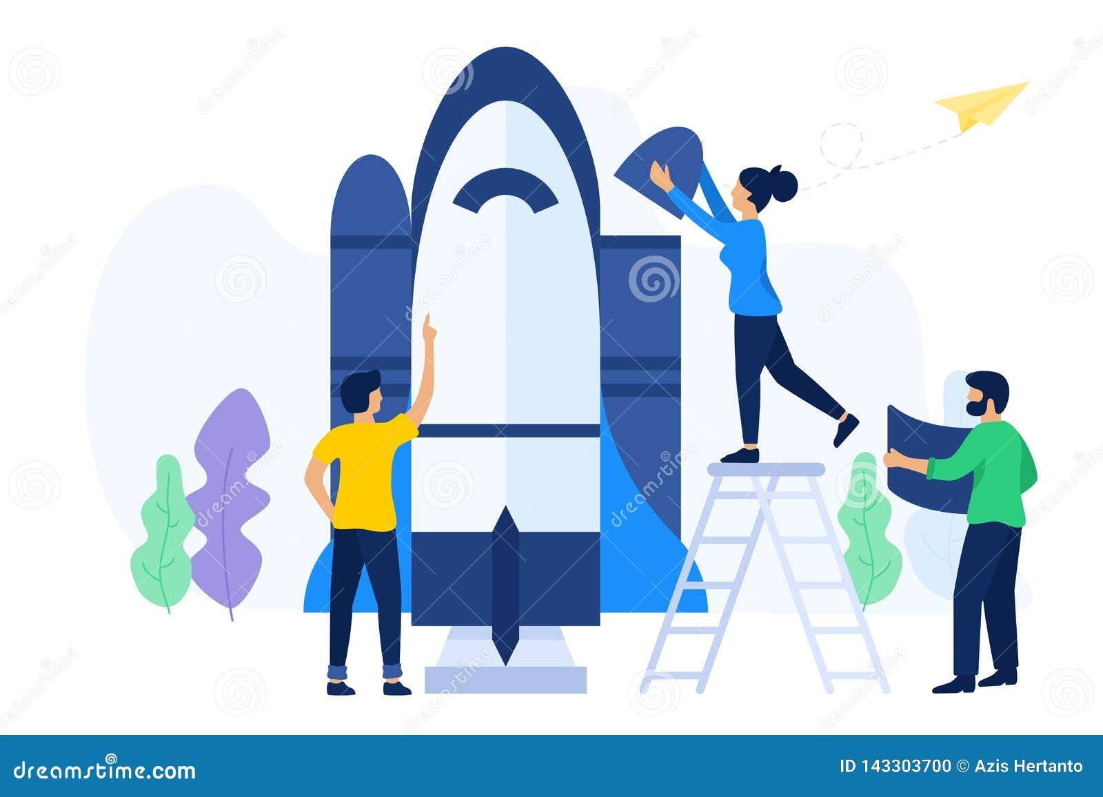 Creative teamwork prepare to launch a spaceship