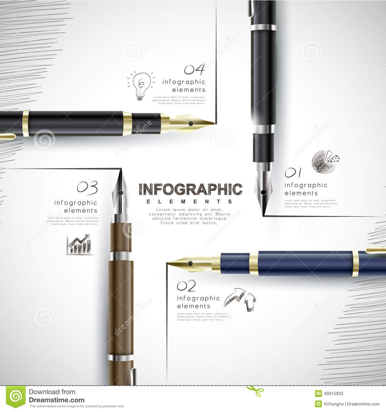Creative Template With Fountain Pen Writing Informations Stock Vector ...