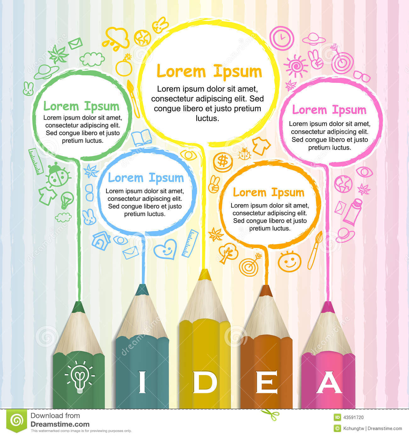 Creative Template Infographic With Colorful Pencils