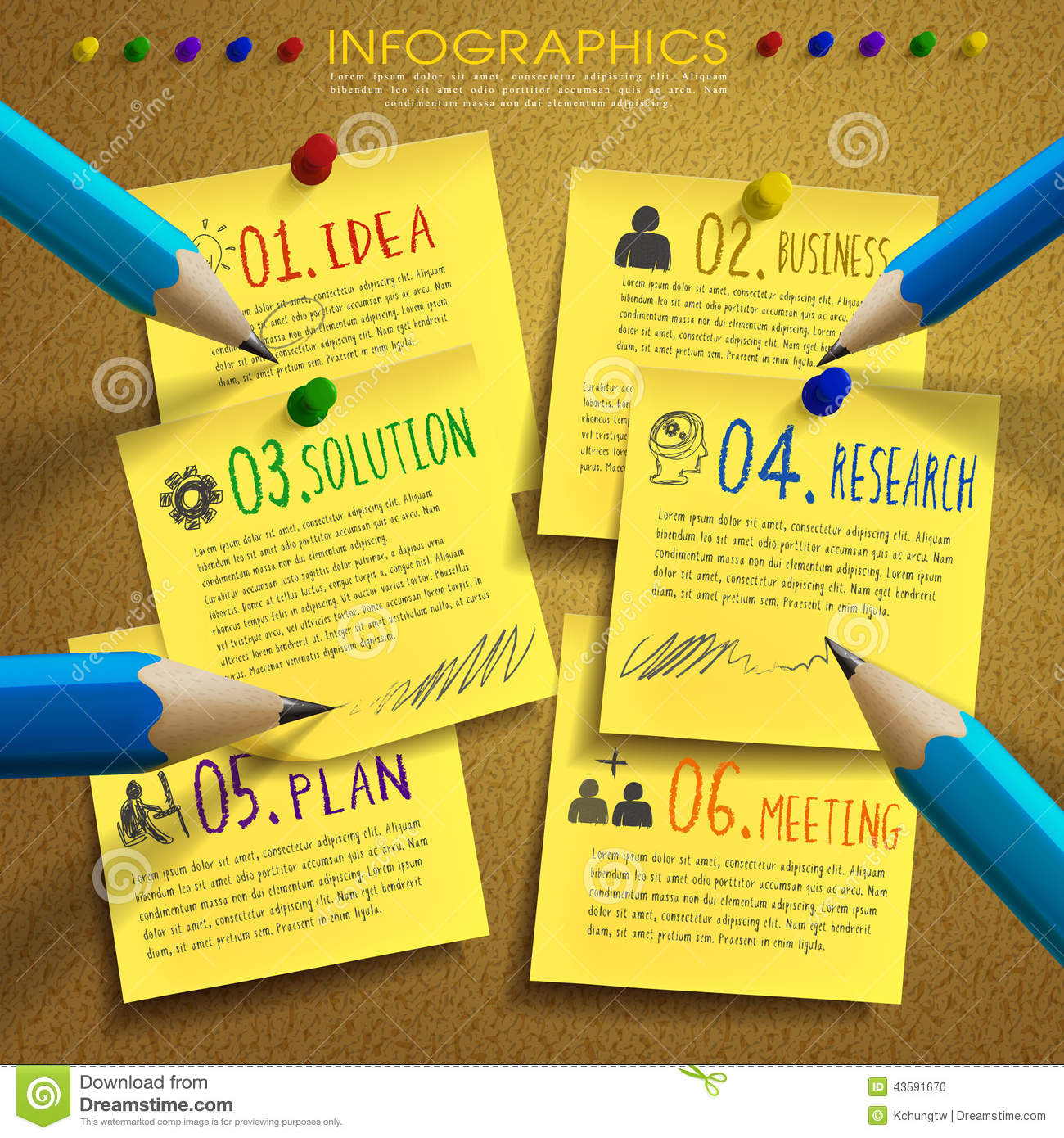 Info Post Site: Creative Template Infographic With Post-it And Pencil