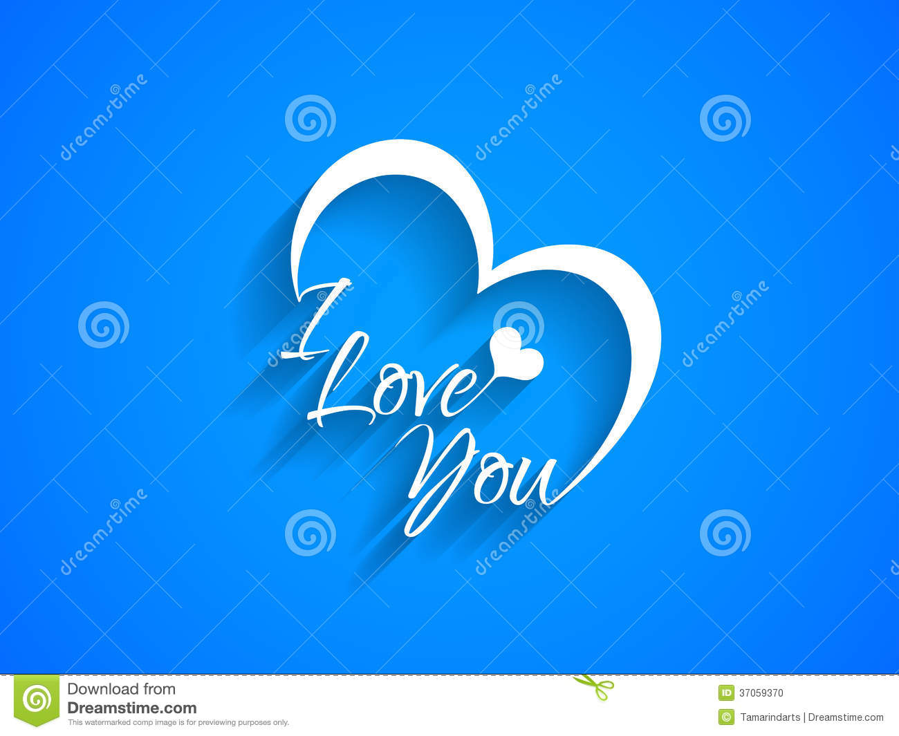 Creative text design of i love you on blue color for I love to design