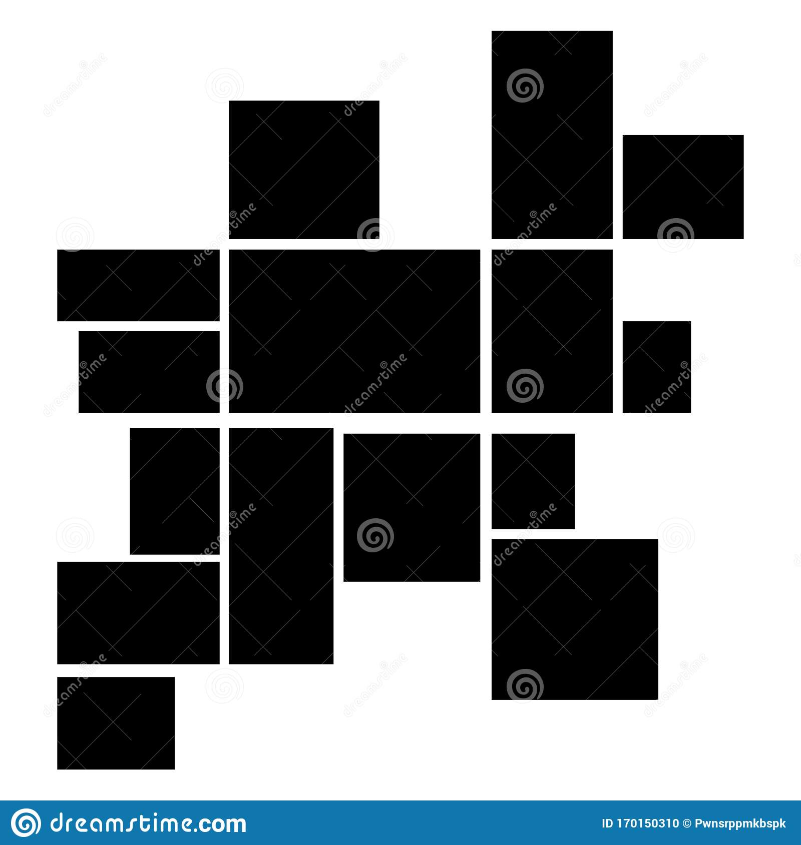 Creative Theme With 15 Part Rectangle Border Layout Vector Collage Frames For Photo Stock Illustration Illustration Of Horizontal Vector 170150310