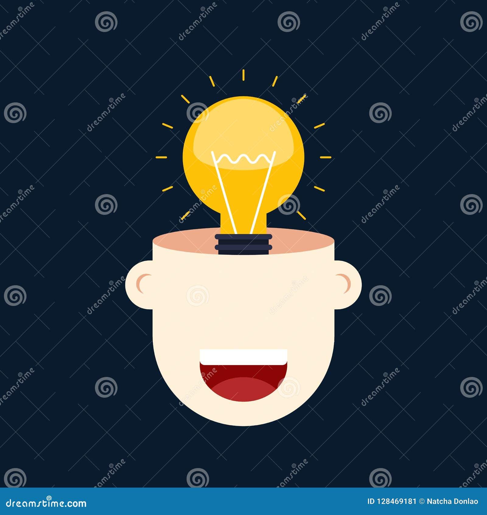 Creative Thinking Idea Concept Flat Design Stock Illustration Illustration Of Modern Light 128469181
