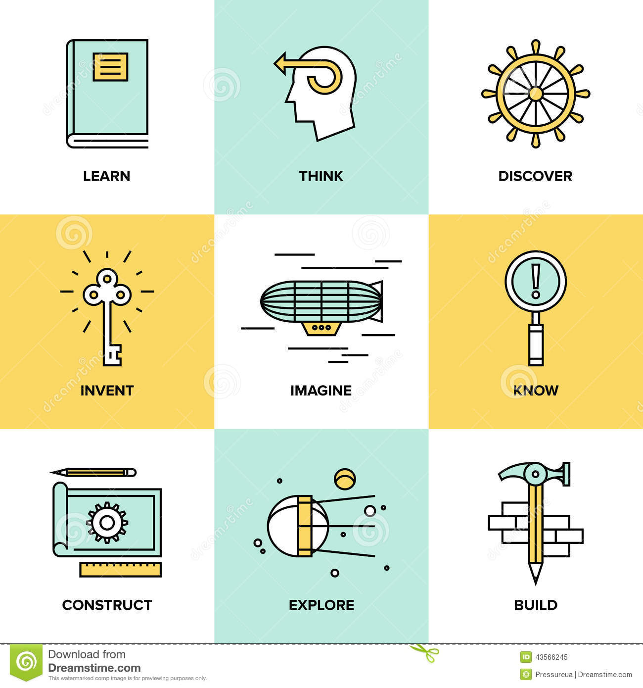 Stock Illustration Creative Thinking Invention Flat Icons Line Set Process Learning Study Activities Explore Discovery New Things Planning Image43566245