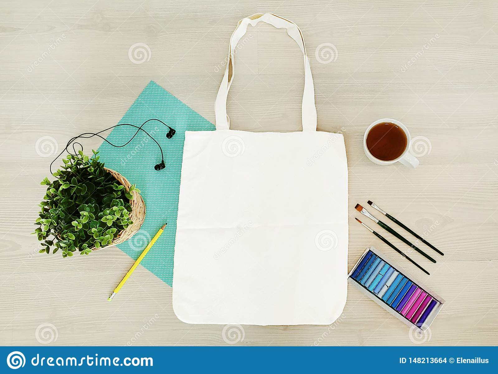 Creative, trendy, artistic eco, tote, cotton bag mock up.