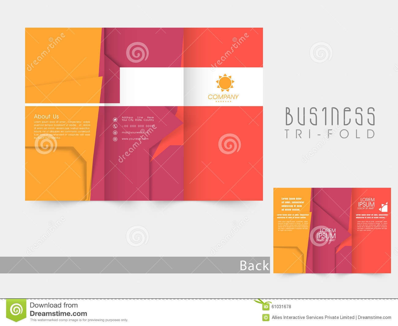 creative trifold brochure template or flyer stock illustration