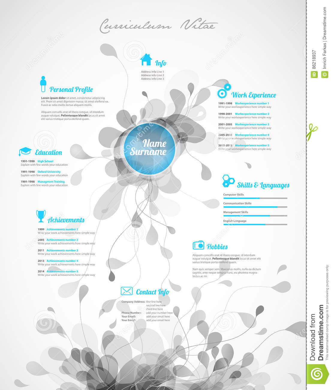 creative  turquoise color cv    resume template  stock