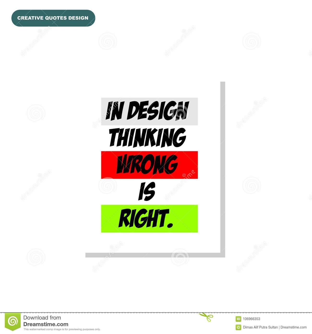Creative Typography Design Of In Design Thinking Wrong Stock Vector