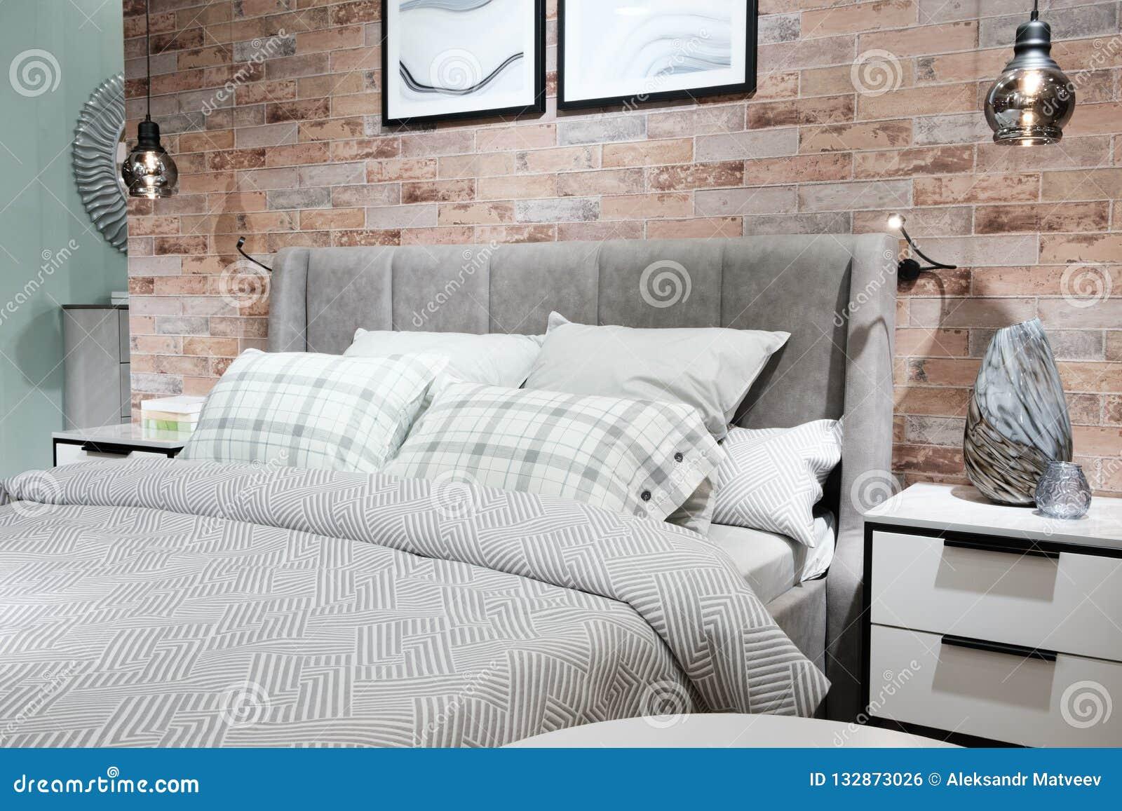 Creative Urban Interior Design Bedroom White Linen Stock Photo Image Of Empty Double 132873026