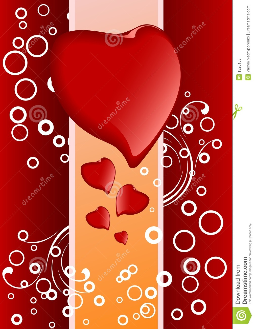 Creative Valentine greeting card with hearts and circles, vector