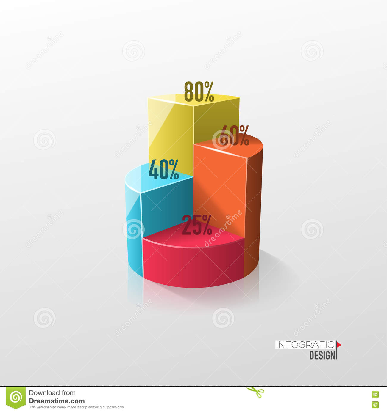 Creative Vector Colorful 3d Pie Chart Stock Vector Illustration Of