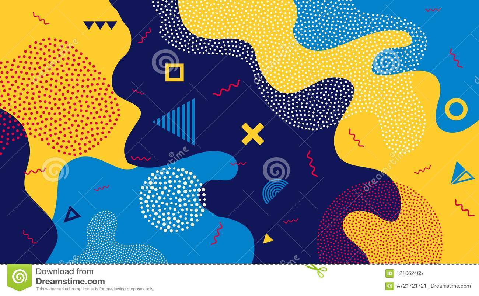 Creative vector illustration of children cartoon color splash background. Art design trendy 80s-90s memphis style
