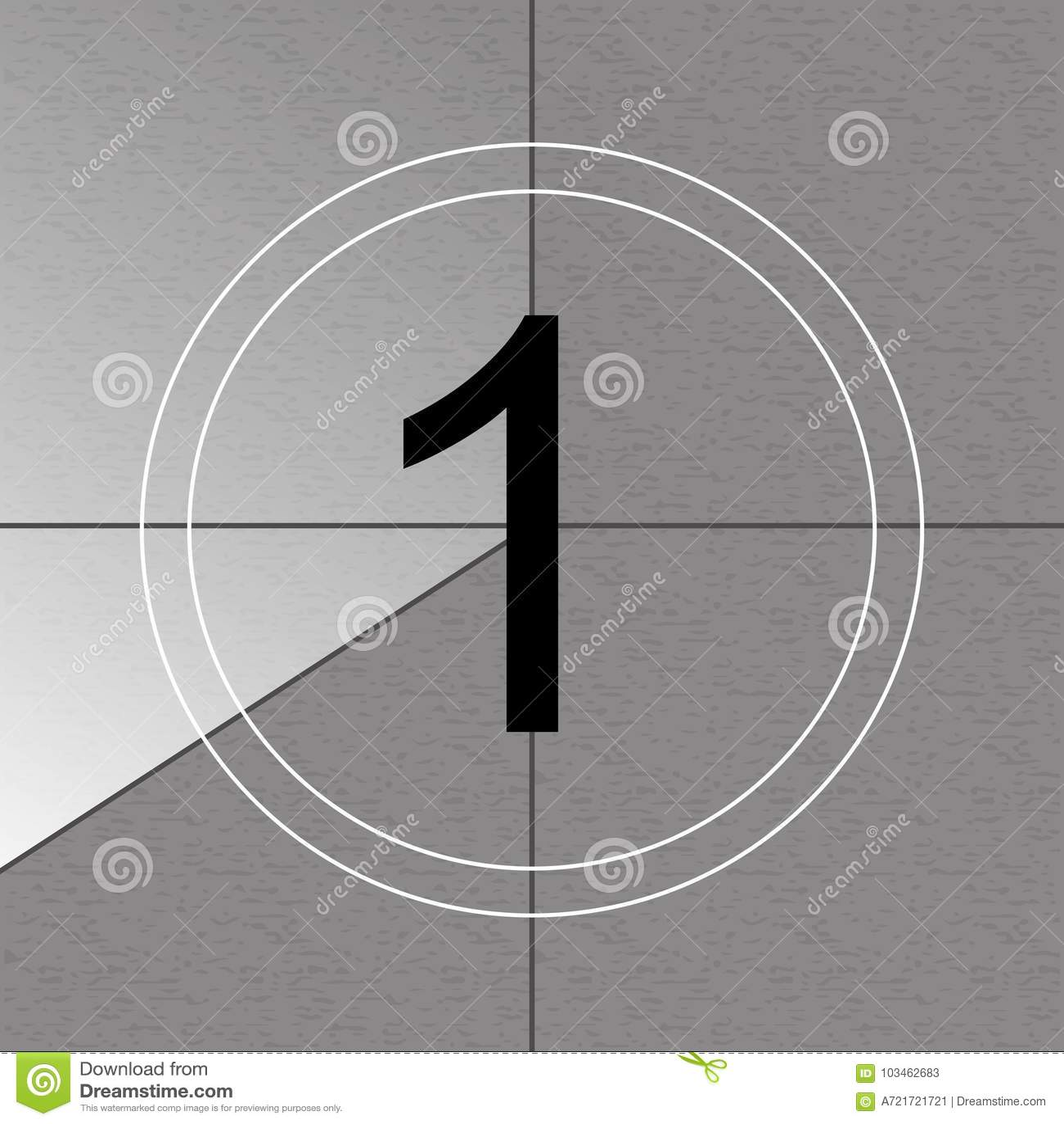 Creative vector illustration of countdown frame. Art design. Old film movie timer count. Vintage retro cinema. Abstract concept gr