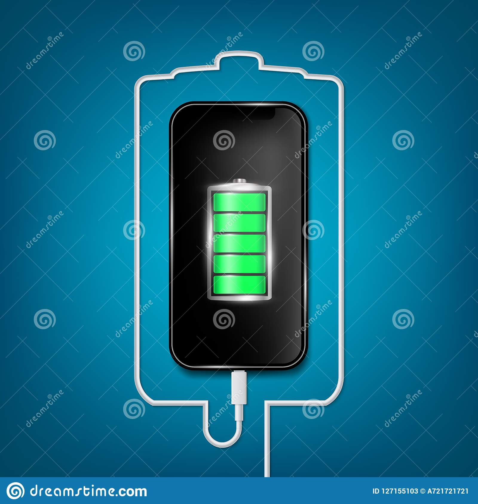 Creative vector illustration of full charged battery smartphone with cellphone usb plugs cable isolated on background