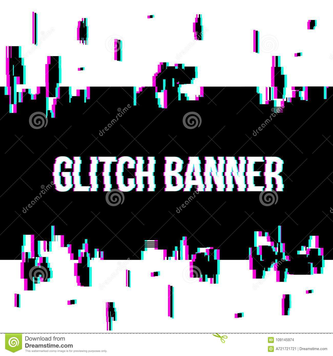 creative vector illustration of glitch style distorted banner