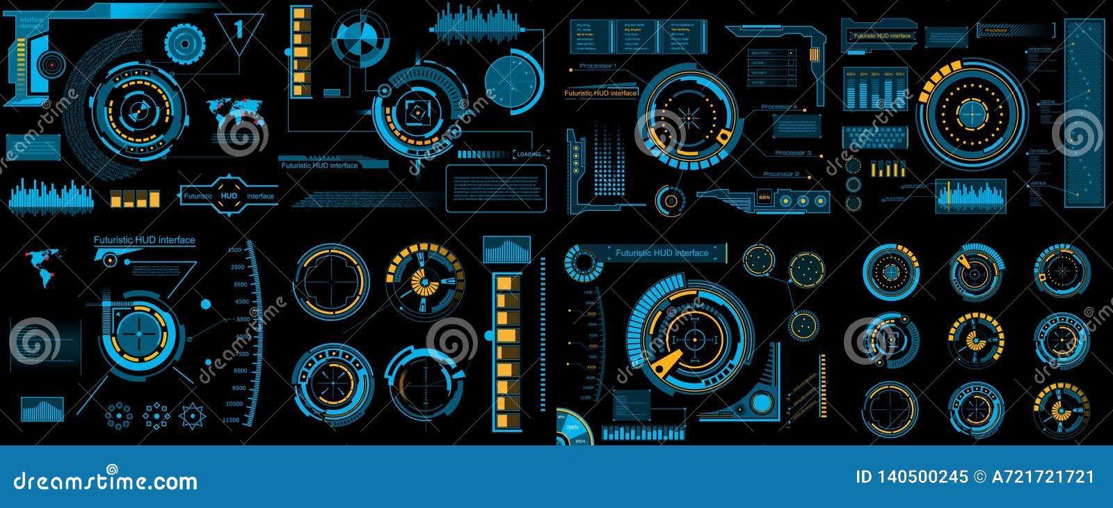 Creative Vector Illustration Of Hud Interface Elements Set