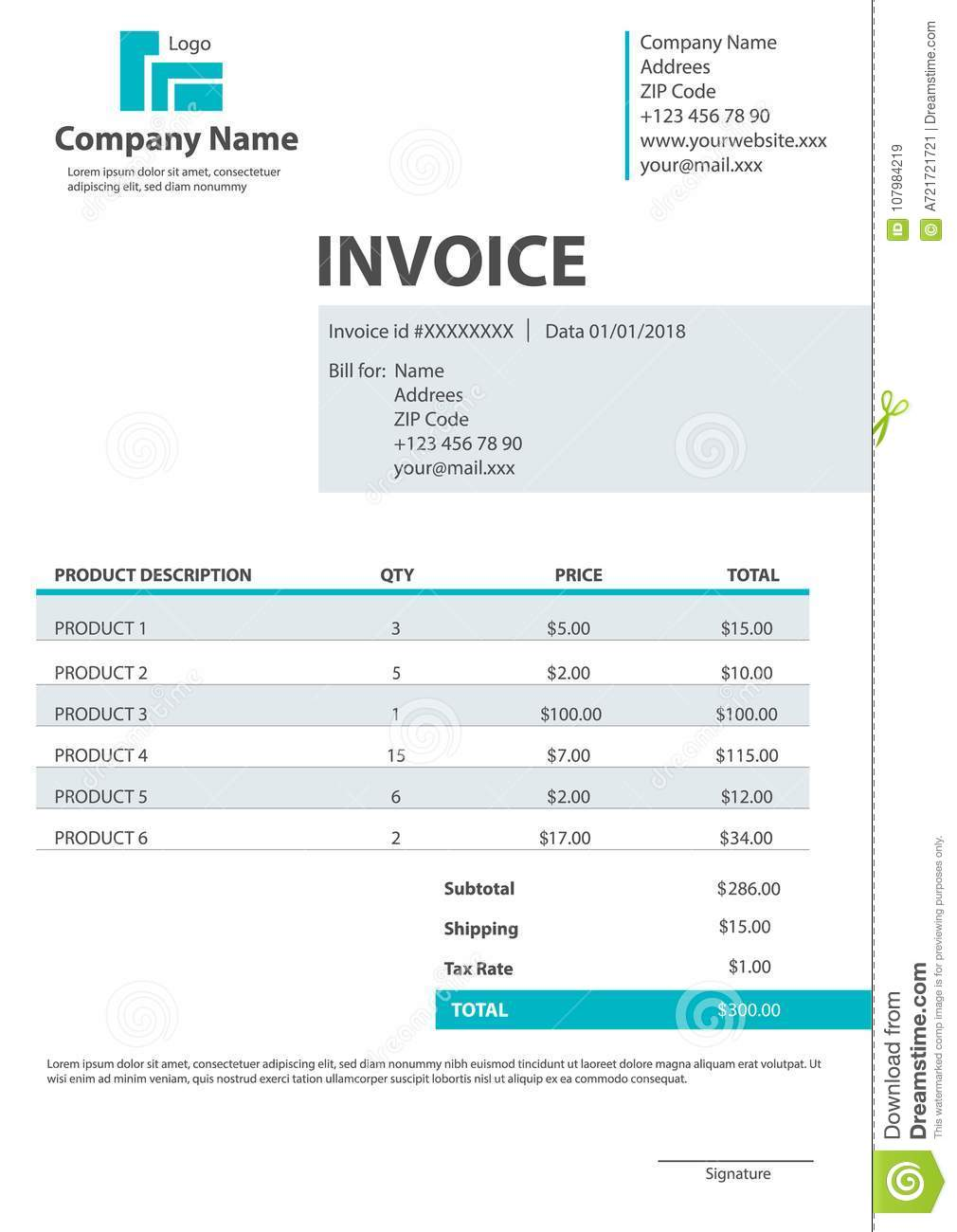 Creative vector illustration of invoice form template for your billing isolated on transparent background. Customizable business c