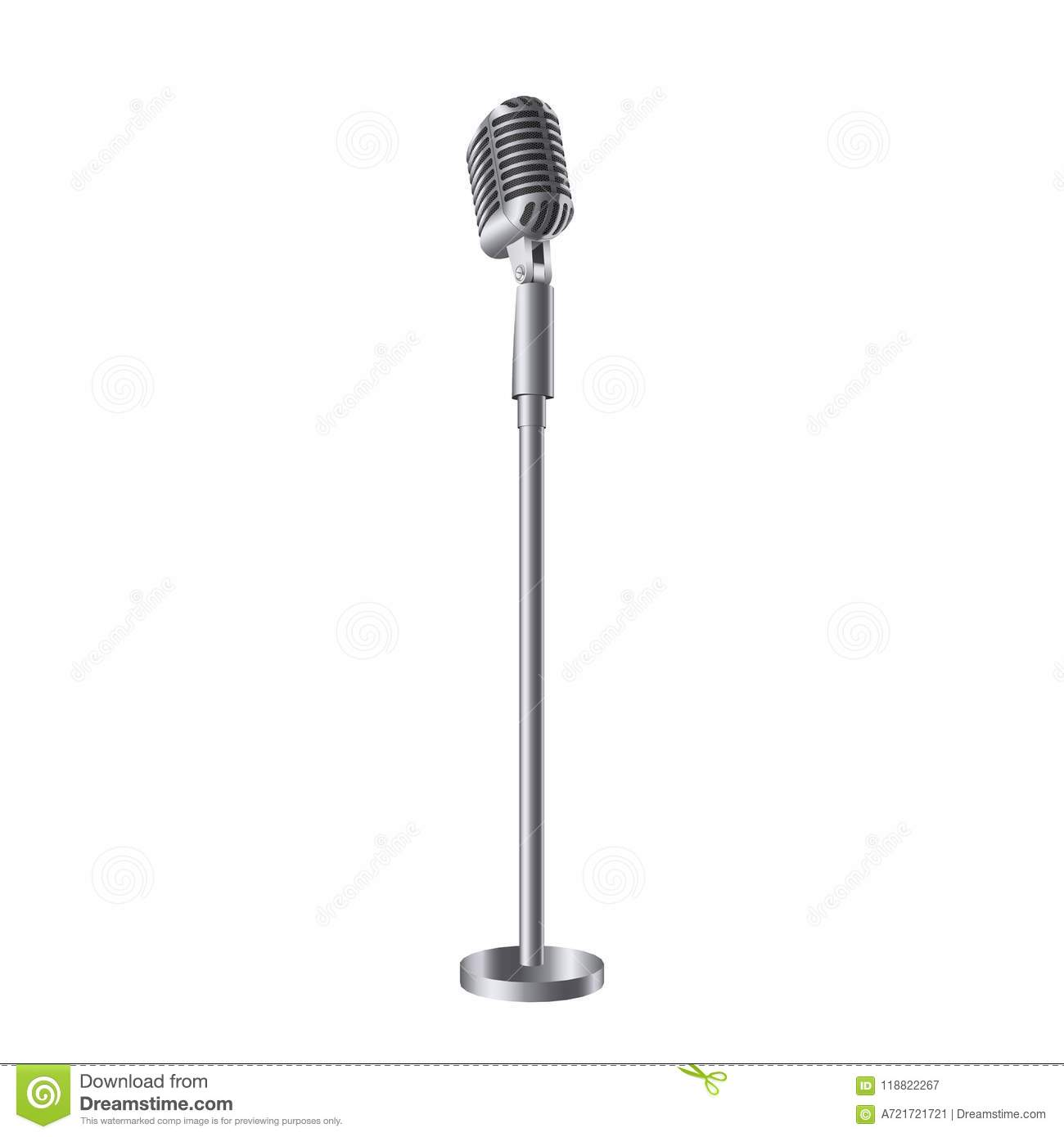 Microphone With Stand Drawing Creative Vector Illust...