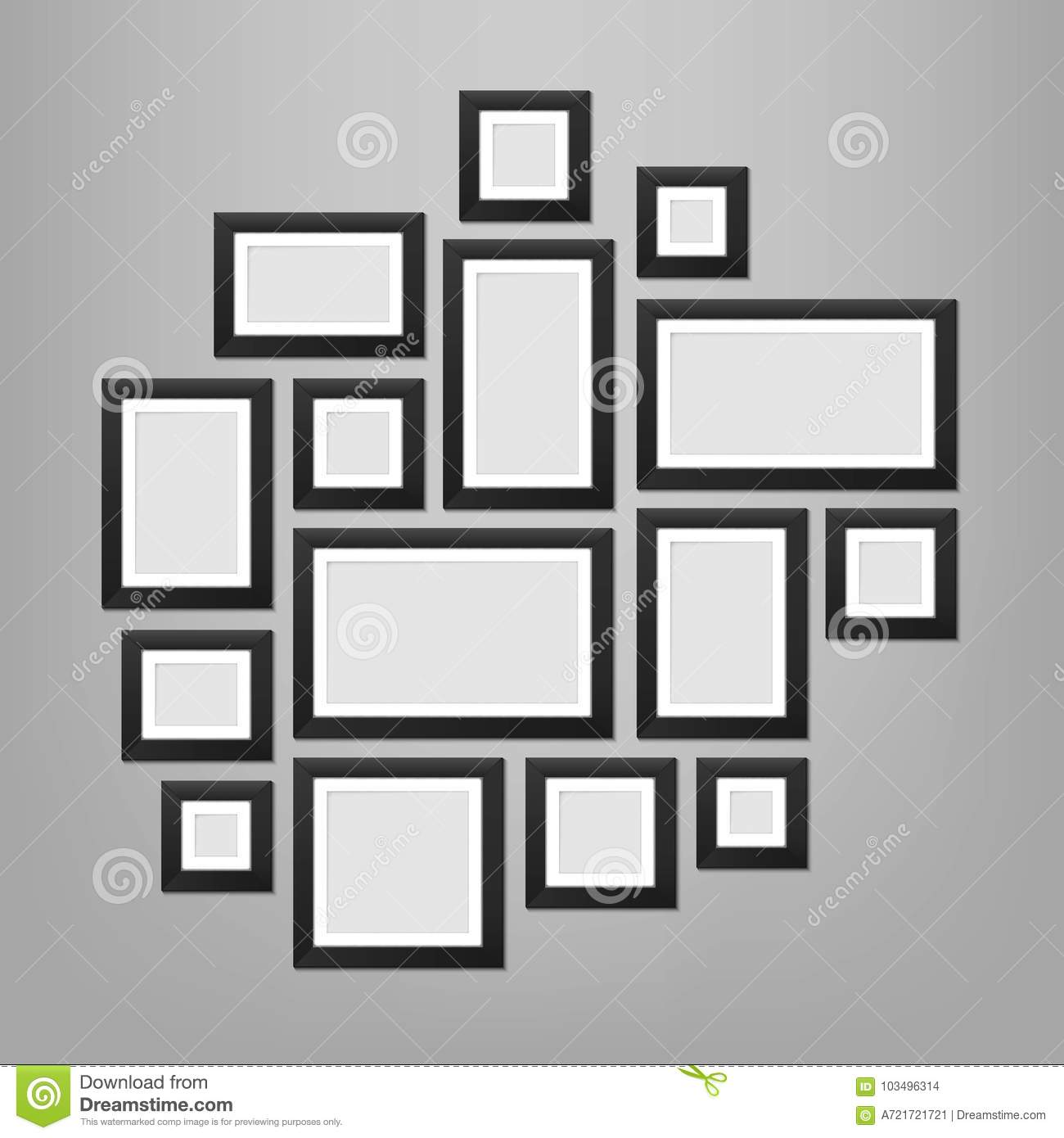 Creative vector illustration of wall picture frames template isolated on background. Art design blank photo. Abstract concept grap