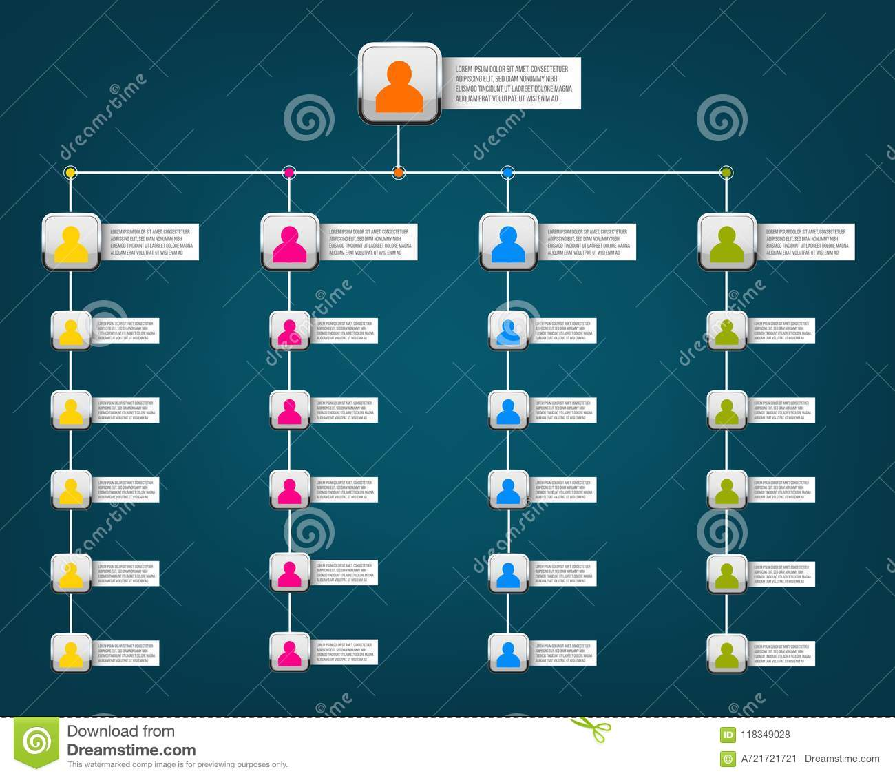 Creative vector modern style illustration corporate organizational chart slide of isolated on background. Business work flowchart