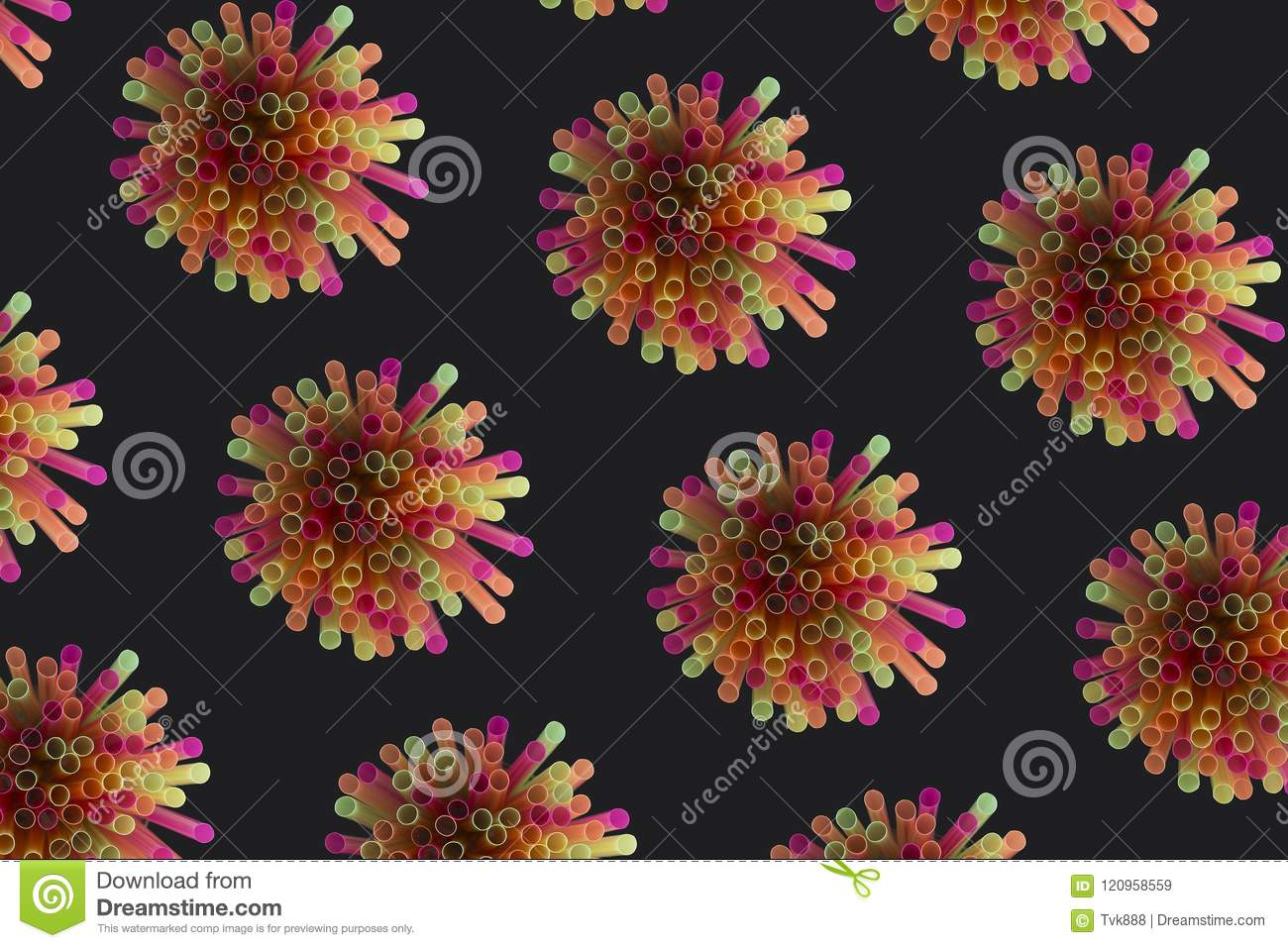 Creative view of drinking straws for party on black background i
