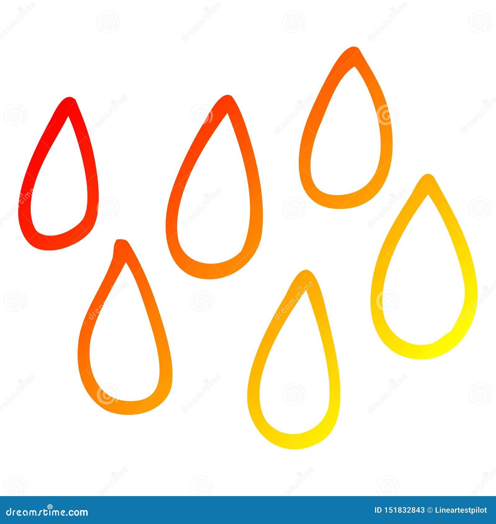 A creative warm gradient line drawing cartoon blood droplets